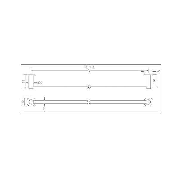 Zeos Towel Rail Single 600 02