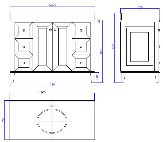 Coventry 1200 2 Door 6 Drawers Spec