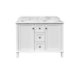 Coventry 120 X 55 Double Bowl Satin White Vanity With Real Marble Top Ceramic Undercounter Basins