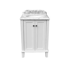 Coventry 60 X 55 Satin White Vanity With Real Marble Top Ceramic Undercounter Basin 1390468227