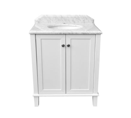 Coventry 75 X 55 Satin White Vanity With Real Marble Top Ceramic Undercounter Basin