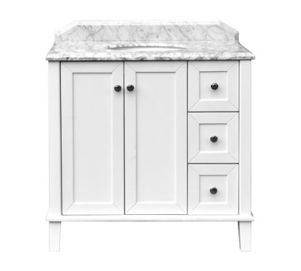 Coventry 90 X 55 Satin White Vanity With Real Marble Top Ceramic Undercounter Basin