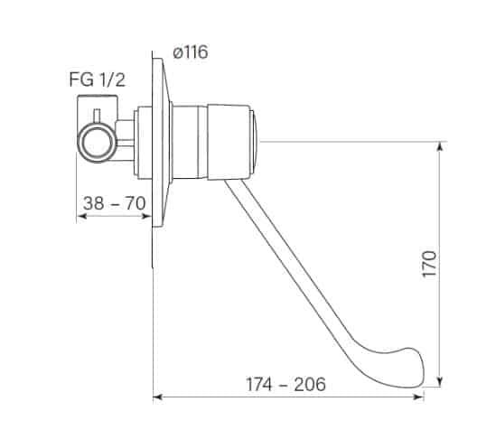 Faucet Swirl Disabled Wall Mixer Specs