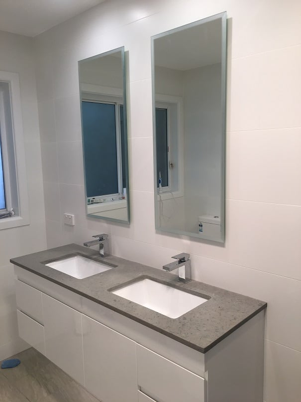 White Bathroom Mirrors Bevel 00001