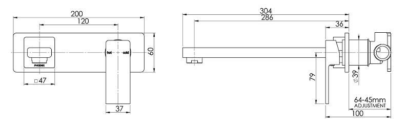 Ra764 Radii Wall Mixer Set 280mm Line Drawing 1 3