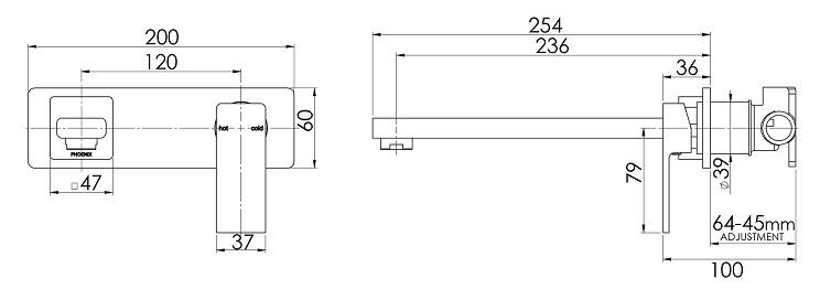 Ra784 Radii Wall Mixer Set 230mm Line Drawing 1 3