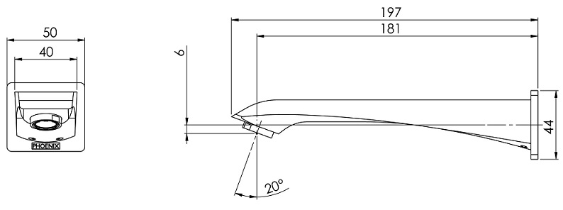 Ag774 Argo Wall Basin Outlet 180mm Line Drawing