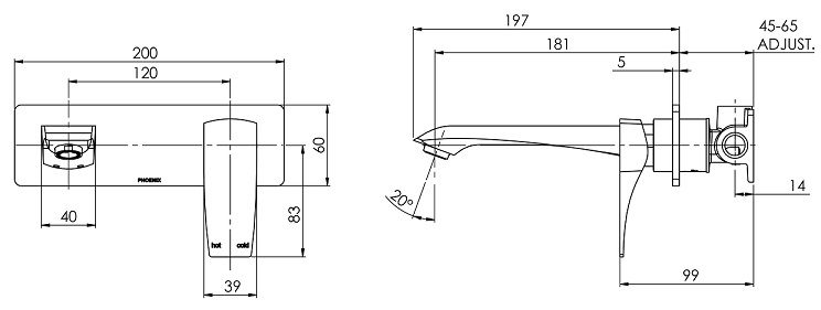 Ag785 Argo Wall Basin Set Line Drawing