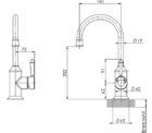 Ns730 Nostalgia Sink Mixer 160mm Gooseneck Line Drawing