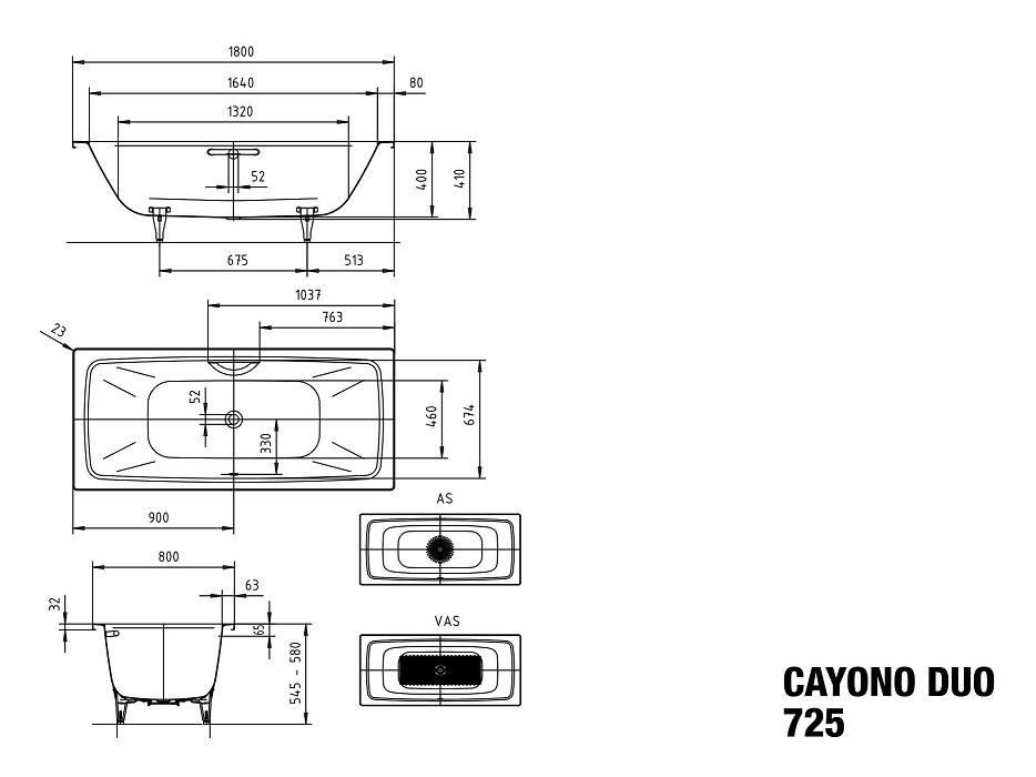 Kaldewei Cayonoduo 1800 Specs