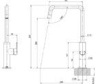 115 7300 Mekko Sink Mixer 190mm Squareline Line Drawing