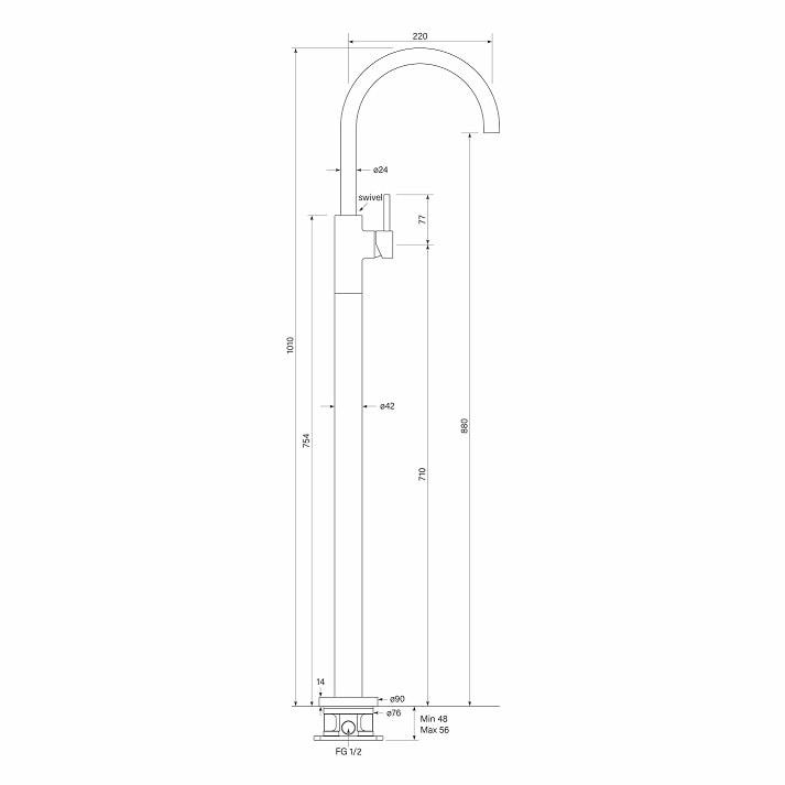 Faucet Pegasim Floor Bath Mixer Curve Specs
