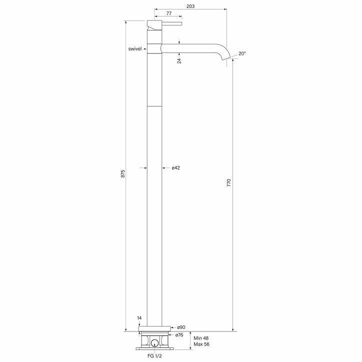 Faucet Pegasim Floor Bath Mixer Specs
