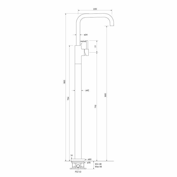 Faucet Pegasim Floor Bath Mixer Square Specs