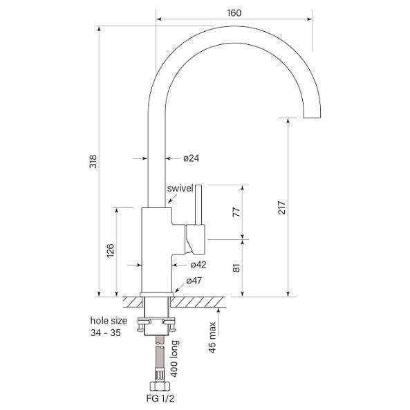 Faucet Pegasi M Sink Mix Curve 160 Specs