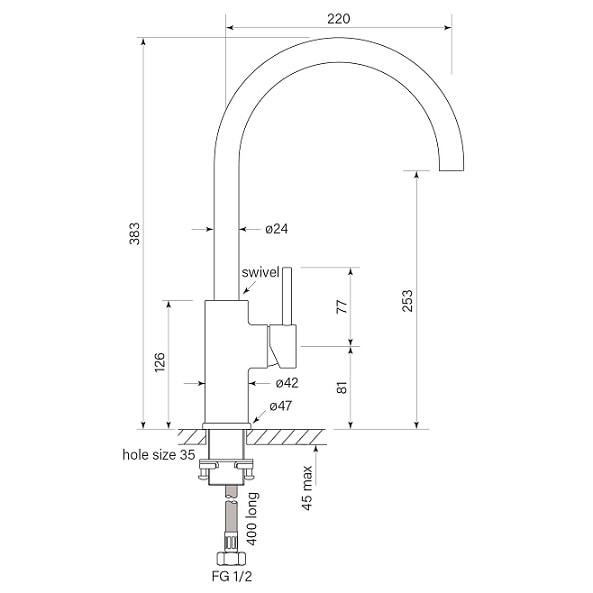 Faucet Pegasi M Sink Mix Curve 220 Specs