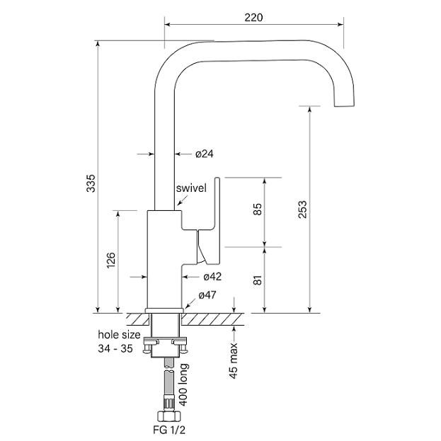 Faucet Zeos Sink Mixer Square 220 Specs
