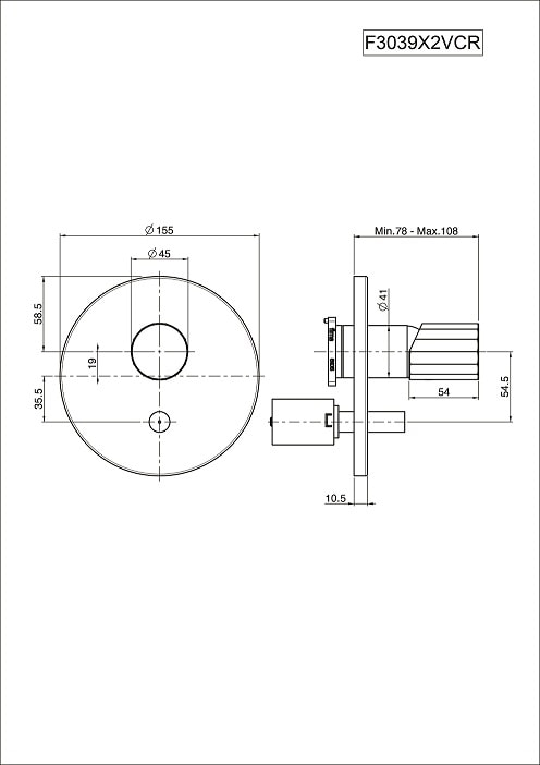 Fima Spillo Tech F3039x2vcr Technical Drawing