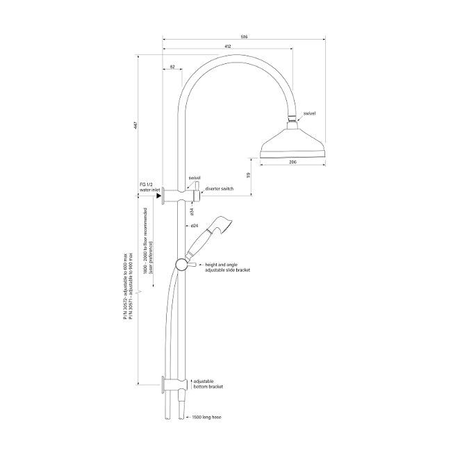 Cascade Dual Shower 900 Specs
