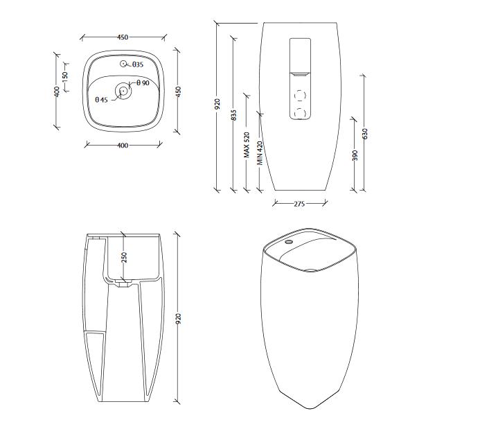 Sb Nur Column With Tap Landing Specs