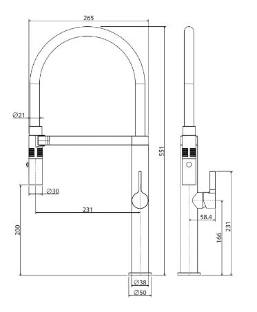 Fienza Sansa Pulldown Sink Mix Ch 229109 Specs